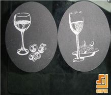 Cheapest Material Natural Stone Popular Black Slate Plates,Dishes for Kitchen Island Application,Flat Finished Top Be Used for Tea Sets,Plates,Cabinet