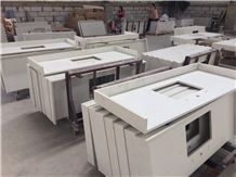 White Crystal Quartz Countertop,Bath Vanity Top