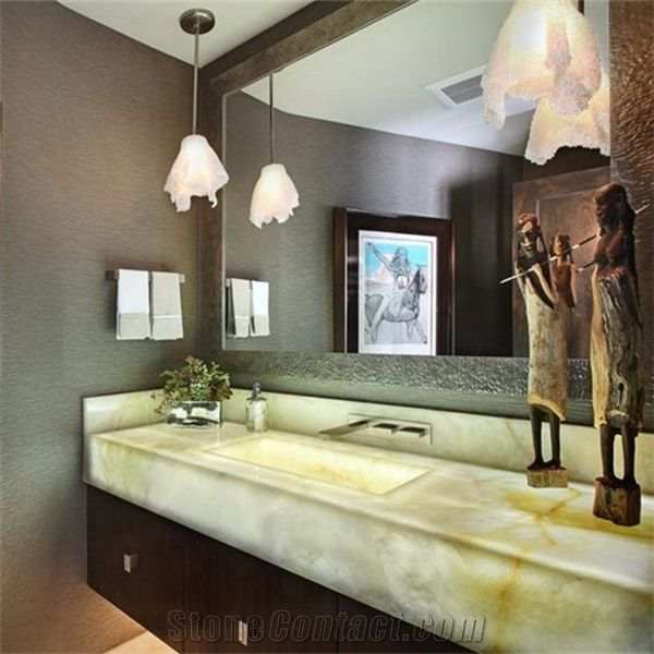 Backlit Luxury White Onyx Bathroom Countertop Vanity Top