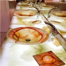 Translucent Snow White Golden White Onyx Bathroom Vanitytop Vanity Top