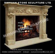 Limestone Fireplace Sculpture Mantel Statue Fireplace