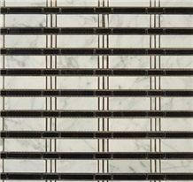 Carrara White Marble Mosaic, Polished Bamboo Kitchen Floor Mosaic Tile