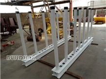 Marble Granite and Quartz Stone Bundle White Powder Coated Slab Rack Rails(Posts Adjustable)