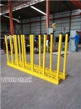 Yellow Powder Coated Slab Rack Rails (Posts Adjustable)