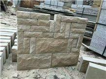 Shandong Yellow Sandstone Mushroom Rustic Surface Wall Stone Blocks Low Prices
