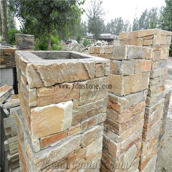 Duplex Villa Gate Slate Stone Column Wraps Cement Slate