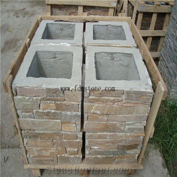Slate Culture Stone Gate Post,cement Posts Rusty Slate