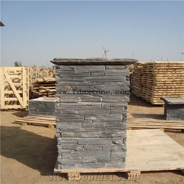 Slate Culture Stone Gate Post,Cement Posts Rusty Slate Pillar