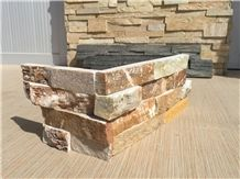 Gold Slate Ledge Corner Wall Stone Cladding