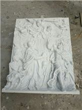 Hand Carved White Marble Religion Relief