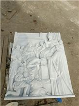 White Marble Hand Carved Religion Relief