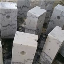 Guangxi White Marble Parking Stone,China Carrara White Marble Parking Curbs,White Marble Parking Barriers,China White Marble Car Parking Stone