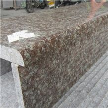 Polished G687 Peach Red Granite Stone Polished Stairs, G687 Granite Stairs & Steps