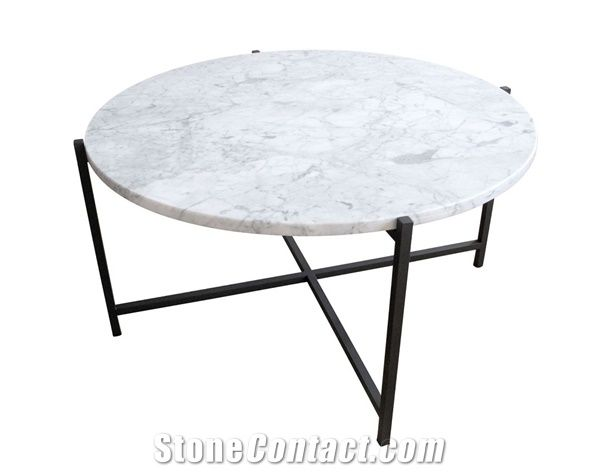 Round White Marble Coffee Table Top