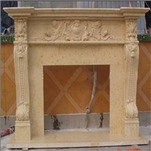 Beige Amande Limestone Fireplace,Modern Style Fireplace,Handcarved Fireplace