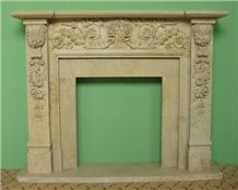China Beige Handcarved Fireplace,Natural Stone Fireplaces