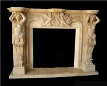 China Beige Marble Handcarved Fireplace,Traditional Style Fireplace