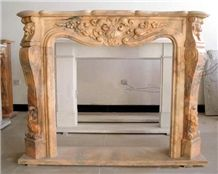 China Cloudy Rosa Fireplace,Yellow Handcarved Fireplace