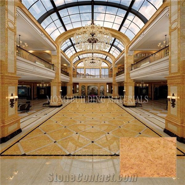 Home Laminated Panel Tiles Golden Rose Marble Flooring TileGold Color Stone Interior Design Tile For Hall