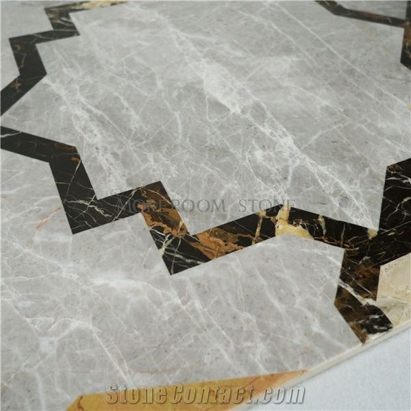 Thin Laminated Marble Water Jet Medallions Dinning Room