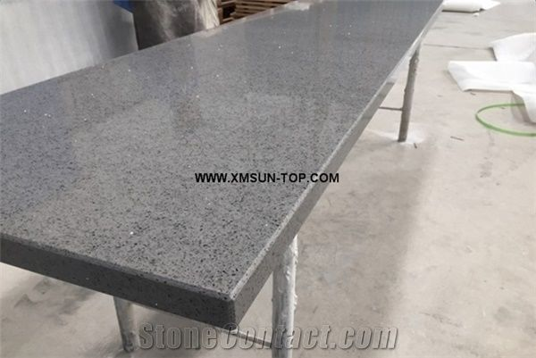 Grey Quartz Stone With Mirror Piece Kitchen Countertop Artificial Worktop Man Made Island Top Custom Engineered