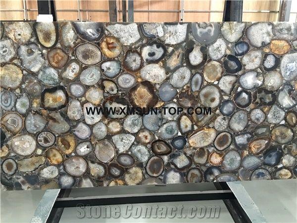 Polished grey agate semiprecious stone big slabs gangsaw slab