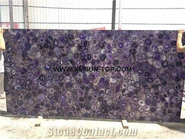 Purple agate semiprecious stone big slabs tiles gangsaw slab strips