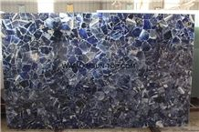 Sodalit Blue Jasper Semiprecious Stone Slab/Sapphire Blue Semi-Precious Stone Slab&Tile&Customized/Semi Precious Stone Slab for Wall Cladding&Flooring/Semi-Precious Stone Panel/Interior Decoration