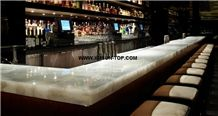 White Crystal Semiprecious Stone Table Tops/White Crystal Semi-Precious Stone Bar Top/Pure White Stone Reception Counter/White Crystal Reception Desk/Semi Precious Stone Work Tops/Semiprecious Recept
