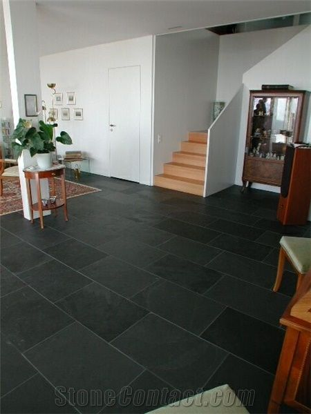 Brazilian Black Slate Floor Tiles From