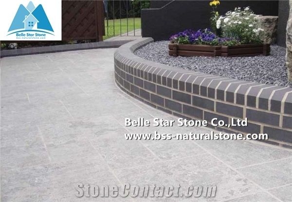 China Blue Limestone Pavers, Flamed Limestone Patio,Limestone Paving  Stone,Outdoor Landscaping Patio,Limestone Floor Tiles