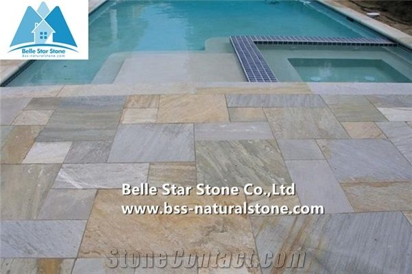 Oyster Split Face Slate Floor Tilesdesert Gold Quartzite Pool