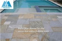 Oyster Split Face Slate Floor Tiles,Desert Gold Quartzite Pool Flooring,White Gold Quartzite Pool Coping Stones,Silver Sunset Quartzite Patio Pavers,Honey Golden Quartzite Patio Stones,Paving Stones