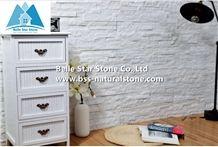 Snow White Quartzite Stone Cladding,Natural Culture Stone,Indoor Stacked Stone,Super White Thin Stone Veneer,Snow White Ledgestone,Lobbies Stone Wall Panel