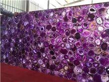 Purple agate semiprecious stone big slabs tiles gangsaw slab