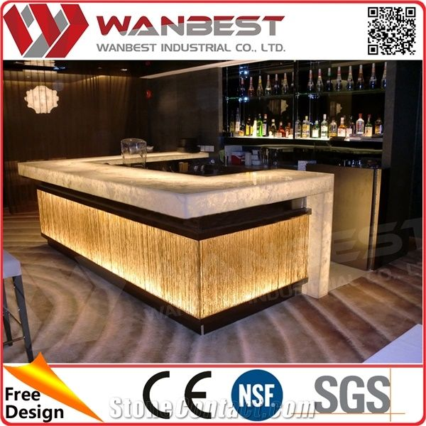 Luxury Led Lighting Illuminate Bar Counter With High Stone