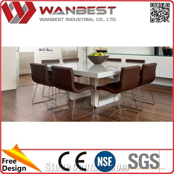 Square Stain Resistance Artificial Marble Top Restaurant Dining Table For 4 8 People From China Stonecontact Com