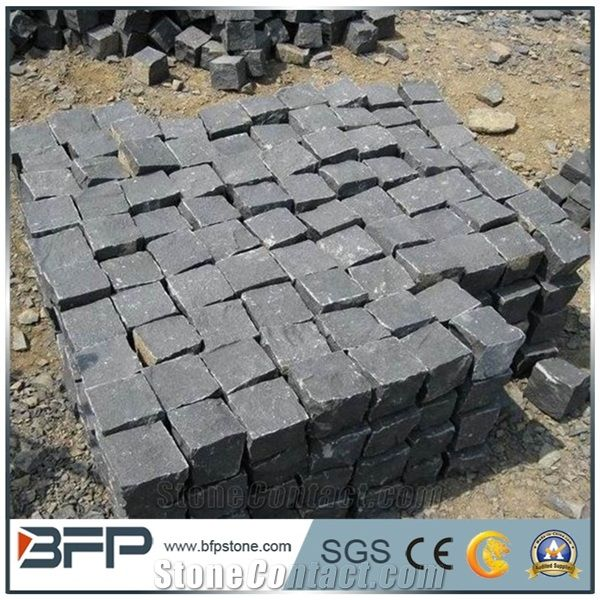 Chinese Cheap G654 Padang Dark Grey Sesame Black Surface FlamedOthers Sawn Cut Cube Stone Cobblestone Paving For PatioDriveway Walkway Pavers Outdoor