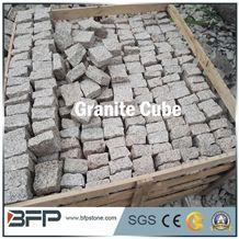 G682 China Yellow Granite Rustic Desert Sand Sunset Gold Flamed Paver Cubestone Setts