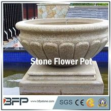 Yellow Granite Round Planter Pots/Gold Yellow Granite Flower Bed/Granite Flower Stand/Stone Exterior Circular Flower Pots/Natural Stone Outdoor Planters/Landscaping Planters/Outdoor Planters