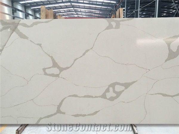 Calacatta Quartz Stone Slabs Tiles White Engineered Stone
