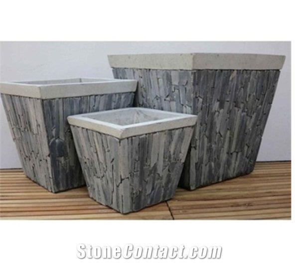 Mosaic Stone Flower Pots Square Slate Lightweight Cement Garden