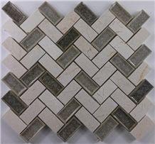 Cream Marfil Mix Ceramic Crackle Glass Mosaic Tile