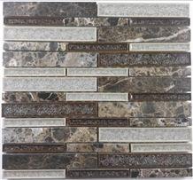 Import Dark Emperador Mix Ceramic Crushed Glass Mosaic Tile