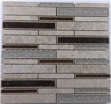 Marble Crackle Ceramic Glass Mosaic Mesh Mounted Tile