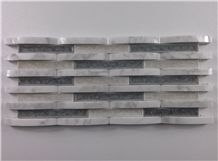 White Carrara Mix Crackle Ceramic Glass Mosaic Mesh Mounted Tile