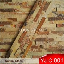 Slate Cultured Stone, Yellow Rusty Culture Stone, Brown Thin Stone Veneer, Hebei Natural Surface Stone for Indoor and Outdoor Decorate