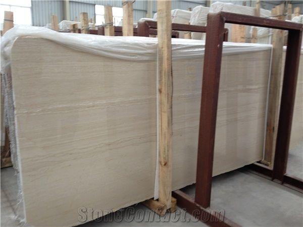 Italian Wood Grain Slab Block Beige Marble Tiles Natural