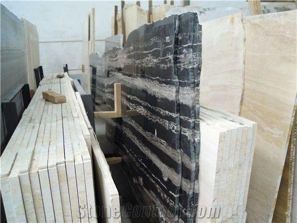 Silver Dragon Slab Block Black Marble Tiles Natural
