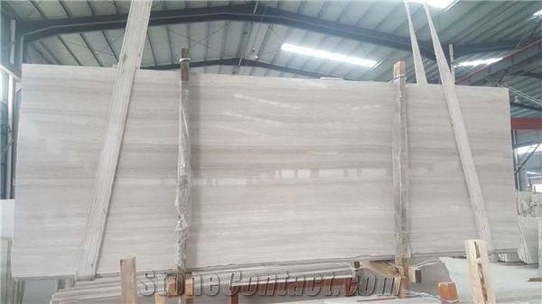 White Wood Slab Block White Marble Tiles Natural Building